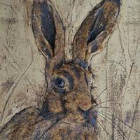 Bas relief of hare in stoneware clay with oxides