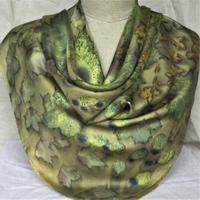 naturally dyed and ecoprinted silk scarf