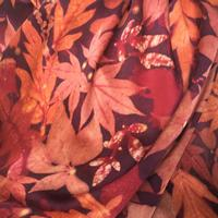 detail from silk satin scarf, dyed with madder and printed with summer leaves and flowers  £60