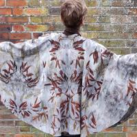wool cape, printed with eucalyptus