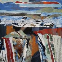 Seascape 3.  Mixed media with collage on paper