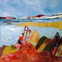 """Seascape 1.  Mixed media with collage on canvas 12""""x12""""   £95"""