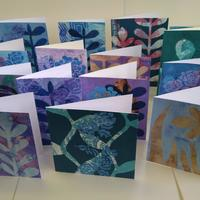 Original greetings cards with backgrounds of either ecoprints or gelliprints