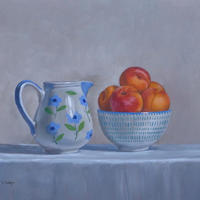 Apricots in Small Bowl with Patterned Jug Oil on panel