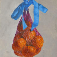 Bag of Clementines and Blue Ribbon Oil on panel