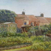 Canalside Allotments Warwick Oil on panel