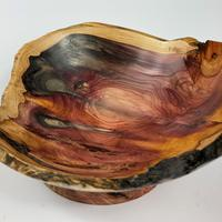 Iron stained yew bowl 230mm X 90mm.