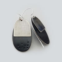 Silver oxidised and patterned earrings