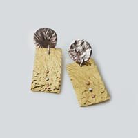 Silver and brass earrings with silver and copper rivets