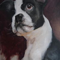 Archie Pepper in Contemplation - Oil on Board