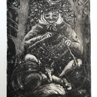 Aquatint Etching:  'Forest Grandmother Knitting the Stars'