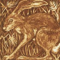 Collagraph:  'Golden Hare'