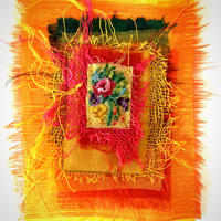 Yesterday the Sun Shone: textiles collage with repurposed embroidery
