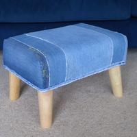 Reused denim ercol legged stool ,made to measure with stitch .