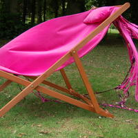 Pink velvet with pillow and cascading fabric deckchair