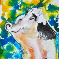 Happy Pig . Watercolour with ink .28cm x 38 cm unframed £50