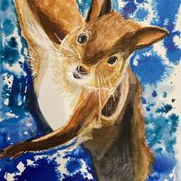 Strong red squirrel watercolour with ink . 28cmx38cm unframed £50