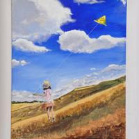 kite flying in lockdown. Acrylic on canvas 61cmx51cm framed . N F S but prints could be arranged on request .