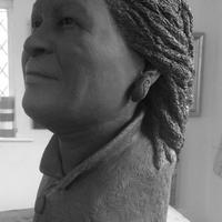 Clay model of the writer Toni Morrison