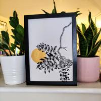 Sunset branch painting, gold art