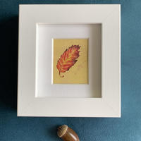"""Beech on gold ground #poised, framed watercolour print 4 x 4.25"""""""