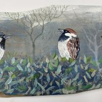 Sparrow Family detail  (7 sparrows in whole picture)  £350 94 x 18cm