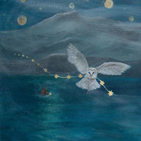 Fallen Star - owl pulling a string of stars against the backdrop of a mountain and high above a lake and under a bright full moon.  Acrylic painting