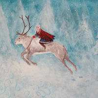 Heading North - a Sami girl rides a reindeer to the artic circle