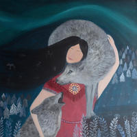 Wilder Connections - elements of nature, ancient wisdom and female power symbolically represented in this painting