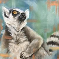 Lemur - things are looking up. - Oil on canvas