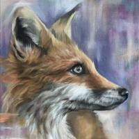 Fox with purple - Oil on Canvas