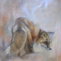 Cautious fox stepping out. - Oil on canvas