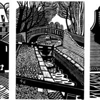 Three small canal linocuts, part of a series of 41 prints.