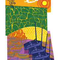 Four Boats. A reduction linocut, part of my Cornwall Remembered Series.