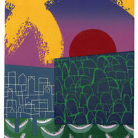 Cornwall Remembered as a Japanese Village. A reduction linocut