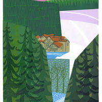 Remembering Norway. A reduction linocut of the ski slopes of Norway.