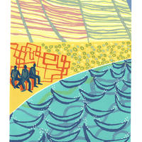 Penarth Watching-Waiting. A reduction linocut of people on the beach with cliffs behind.