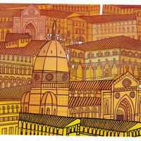 Italy Remembered. A reduction linocut of an imagine Italian town rooftops.