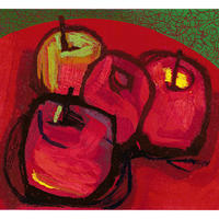 A Study in Red. A still-life (four apples) reduction linocut.