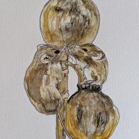 A4 watercolour drawing of 'Harvest Mice'
