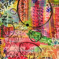 Vibrant mark making and vintage papers collage