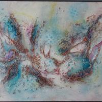 Falling Skies. Mixed media on canvas in white frame