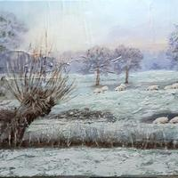 Sheep Dip. Oil and Cold wax on canvas in white frame.