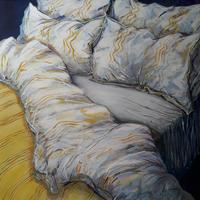 'Unmade bed', acrylic on canvas, 70 x 70cm  £325