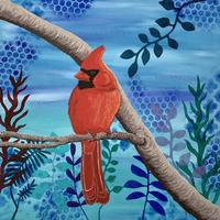 'Red Cardinal' - Acrylic paint on mixed media canvas. Size: 30 cm x 30 cm.