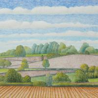 Lord's Hill in June by Anna Phillips. Mixed Media on paper.