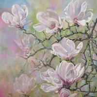 Magnolias, acrylic on canvas by Andy Farr.