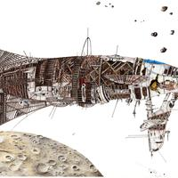 A wooden spaceship orbiting a planet