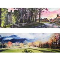 """""""Castle Green Pinks"""" and """"Poplar Shadows"""" 200 x 600cm oil paintings £350. Prints available £150"""
