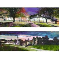 """""""Autumn Lights"""" and """"Pink Moon"""" 200 x 600cms oil paintings £350. Prints available £150"""